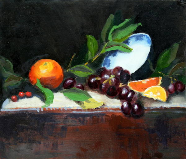 Painting - Oranges And Grapes by Gaye White
