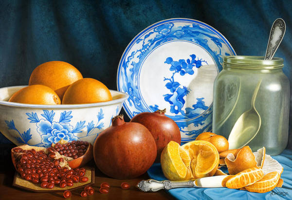 Pomegranates Painting - Oranges And Pomegranates by Horacio Cardozo