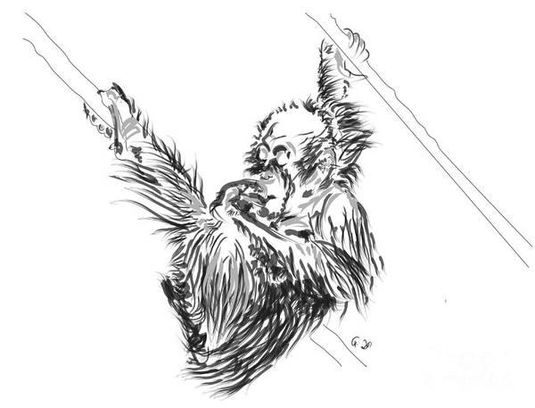 Painting - Orangutan Baby 2 by Go Van Kampen