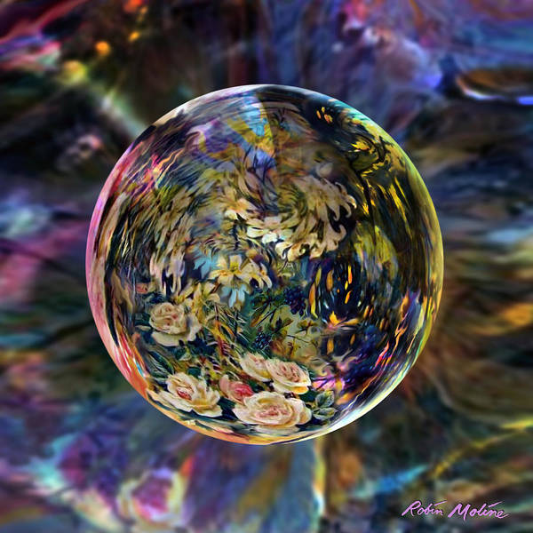 Abstract Rose Digital Art - Orb Of Roses Past by Robin Moline