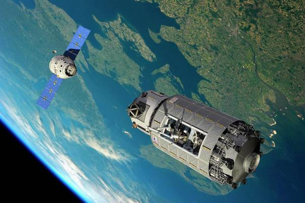 Earth Orbit Photograph - Orbital Maintenance Docking by Walter Myers