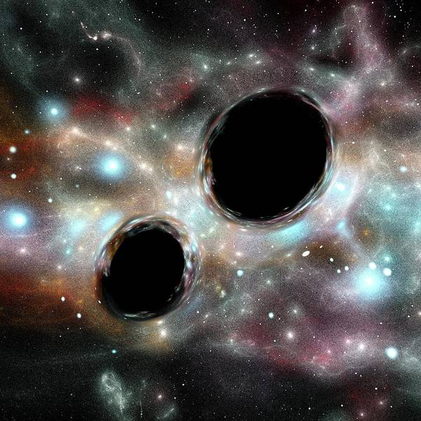 Photograph - Orbiting Black Holes by Russell Kightley