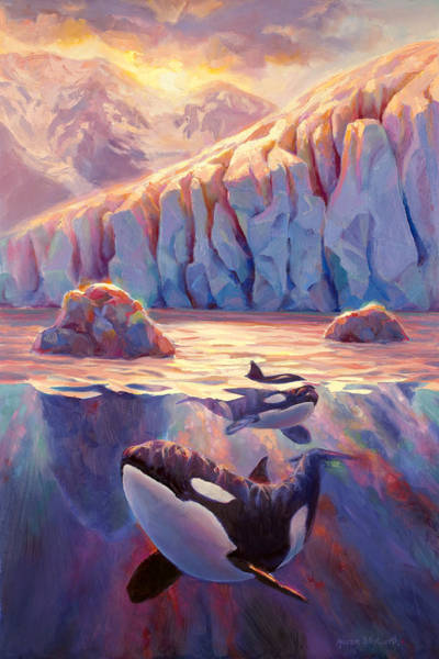 Killer Painting - Orca Sunrise At The Glacier by Karen Whitworth