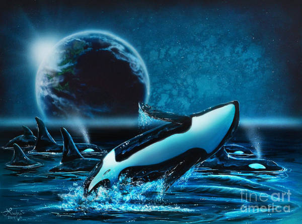 Painting - Orcas At Night by Lachri