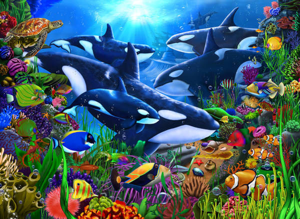 Wall Art - Painting - Orca's Ocean Domain by MGL Meiklejohn Graphics Licensing