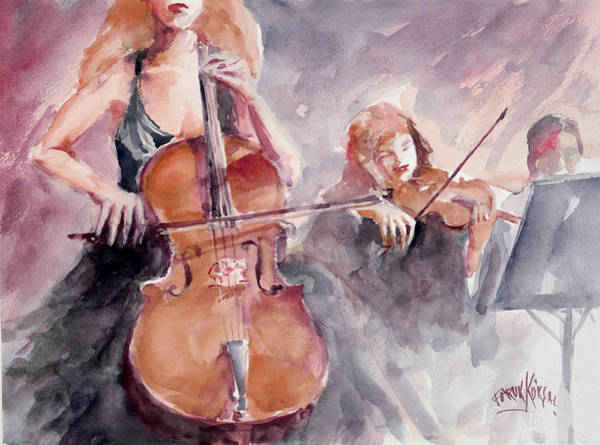Cellist Painting - Orchestra by Faruk Koksal