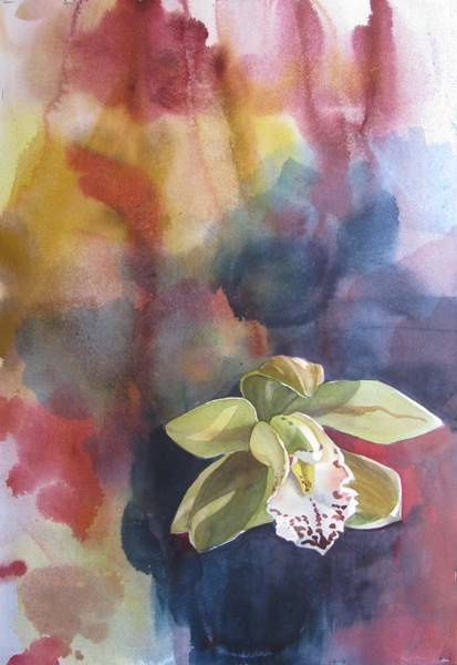 Orchid With Abstraction Art Print