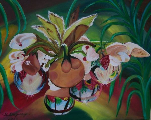 Painting - Orchids In Raindrop Reflections by Sharon Duguay