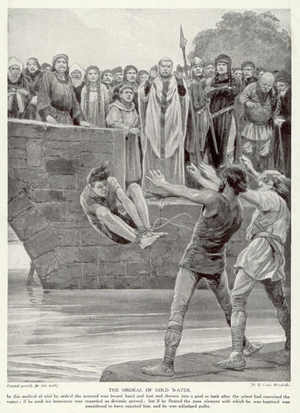 Wall Art - Drawing - Ordeal By Water  The Suspect  Bound by Mary Evans Picture Library