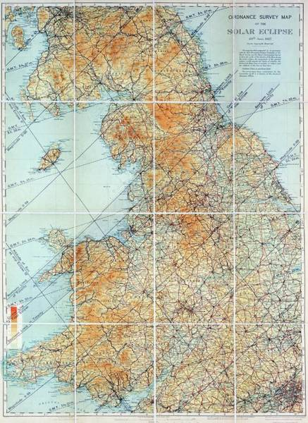 Wall Art - Photograph - Ordnance Survey Eclipse Map by Royal Astronomical Society/science Photo Library