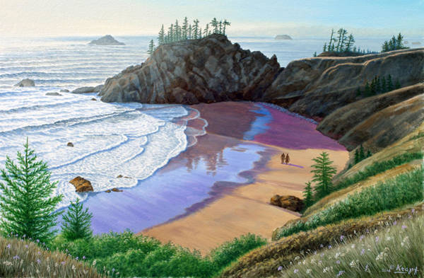 Couple Painting - Oregon Coast-little Cove by Paul Krapf