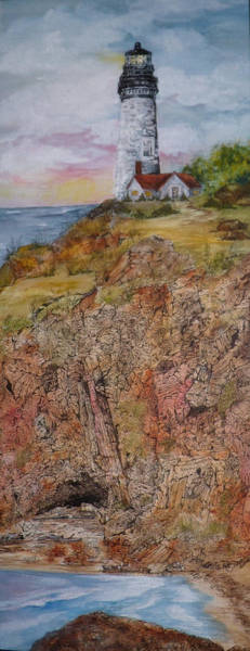 Seek Painting - Oregon Lighthouse With Over 200 Hide And Seek Marine Life Objects by Meldra Driscoll