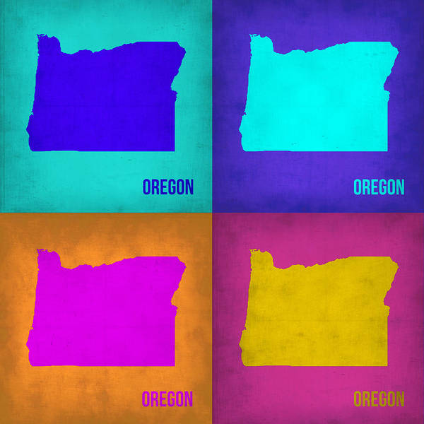 Wall Art - Painting - Oregon Pop Art Map 1 by Naxart Studio