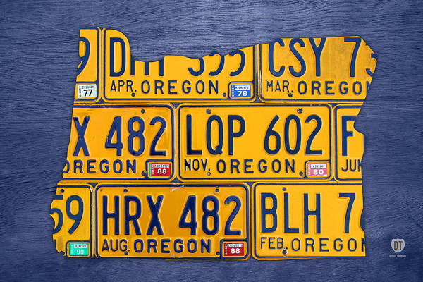 Portland Wall Art - Mixed Media - Oregon State License Plate Map by Design Turnpike