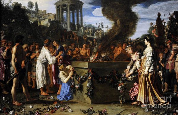 Offering Photograph - Orestes And Pylades Disputing At The Altar, 1614, By Pieter Lastman C.1583-1633 by Bridgeman Images