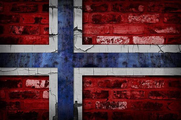 Iceland Digital Art - Organic Norway Flag by Daniel Hagerman