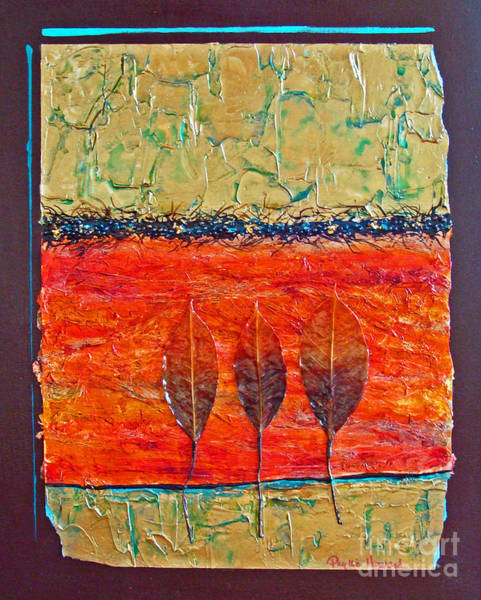 Mixed Media - Organic With Three Leaves by Phyllis Howard