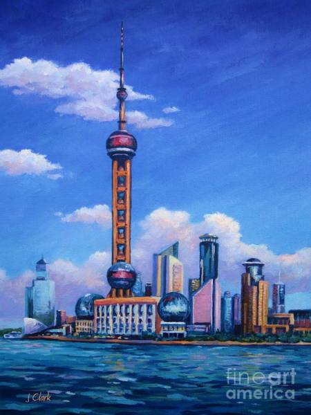 Tall Buildings Painting - Oriental Pearl Shanghai by John Clark