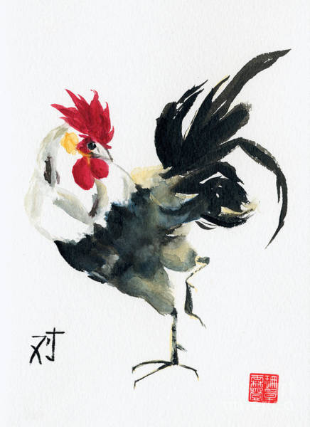 Barnyard Animal Painting - Oriental Rooster by Sandy Linden