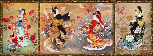 Japanese Art Digital Art - Oriental Triptych by MGL Meiklejohn Graphics Licensing