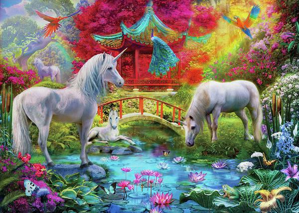 Wall Art - Drawing - Orietnal Unicorns by MGL Meiklejohn Graphics Licensing