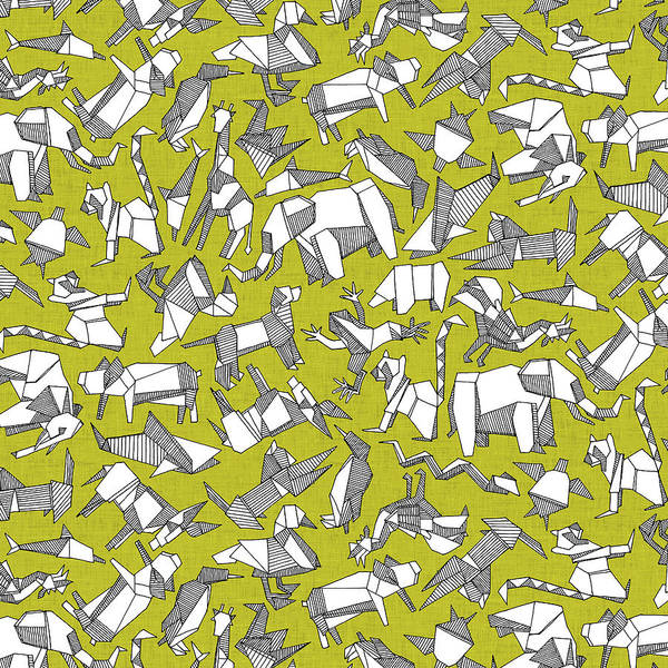 Wall Art - Painting - Origami Animal Ditsy Chartreuse by MGL Meiklejohn Graphics Licensing