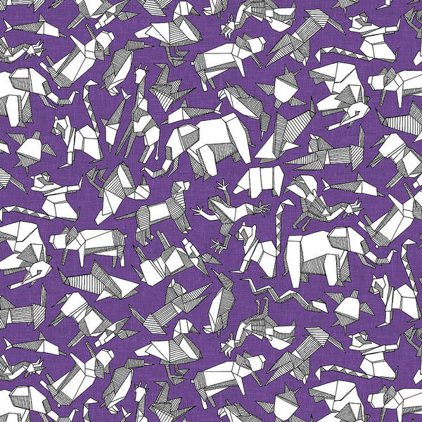 Wall Art - Painting - Origami Animal Ditsy Purple by MGL Meiklejohn Graphics Licensing