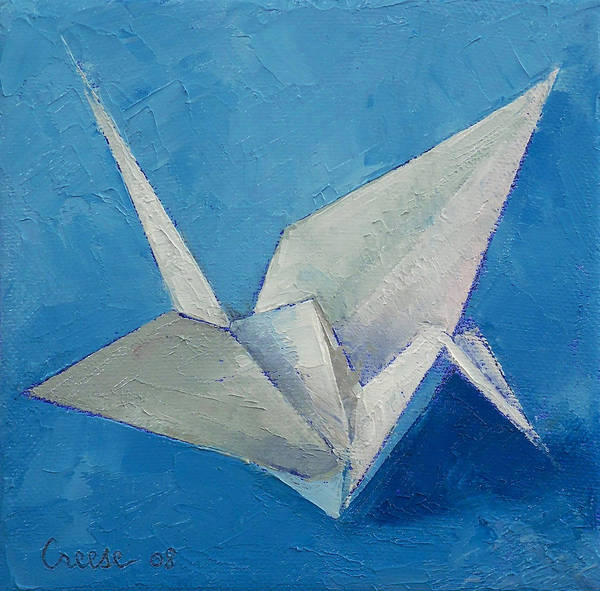 Origami Painting - Origami Crane by Michael Creese