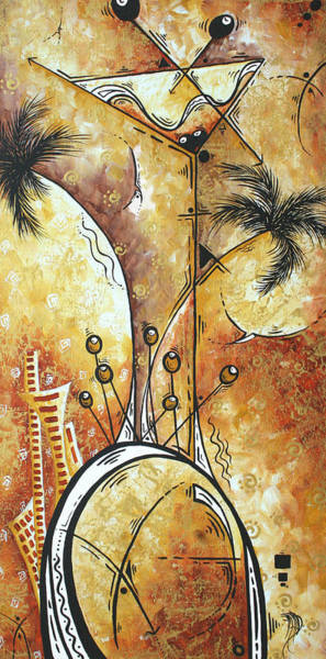 Wall Art - Painting - Original Abstract Cityscape And Martini Art Modern Las Vegas Painting The Spirit Of Vegas By Madart by Megan Duncanson