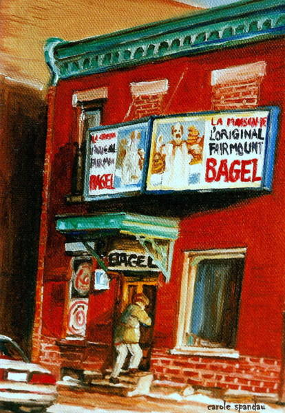 Painting - Original Fairmount Bagel Bakery With Vintage Sign Classic Montreal Memories Painting City Scene by Carole Spandau