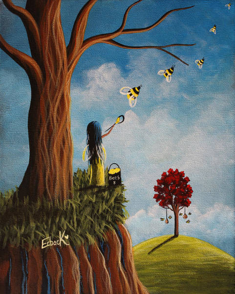 Wall Art - Painting - Original Fairy Artwork - Creating Her Happy Place by Erback Art
