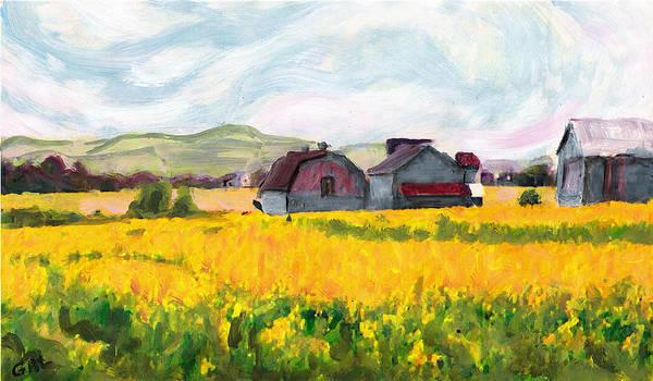 Painting - Original Fine Art Digital Springtime Fields Farm Maryland by G Linsenmayer