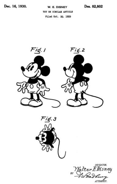 Disney World Digital Art - Original Mickey Mouse Patent by Dan Sproul