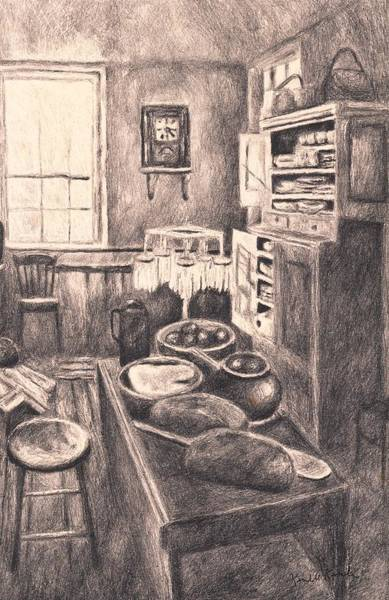 Drawing - Original Old Fashioned Kitchen by Kendall Kessler