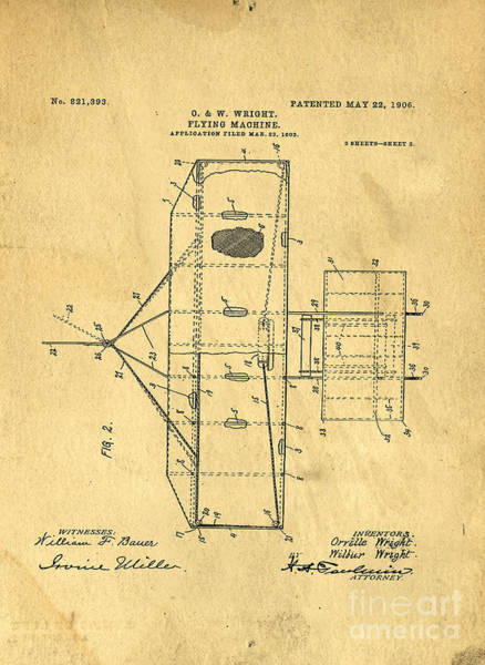 Government Digital Art - Original Patent For Wright Flying Machine 1906 by Edward Fielding