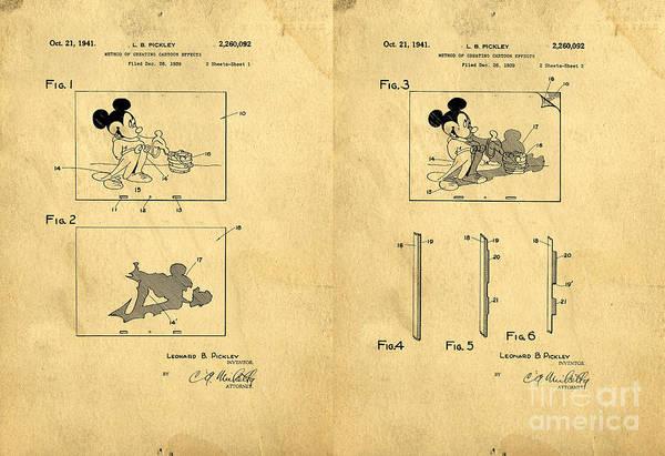 Disney Digital Art - Original Patent For Method Of Creating Cartoon Effects by Edward Fielding