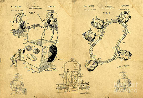 Childhood Digital Art - Original Patent For Robot Amusement Park Ride by Edward Fielding