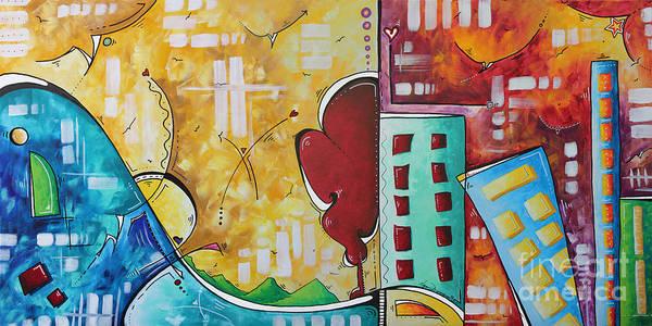 Wall Art - Painting - Original Pop Art Style Landscape Cityscape Painting By Megan Duncanson by Megan Duncanson