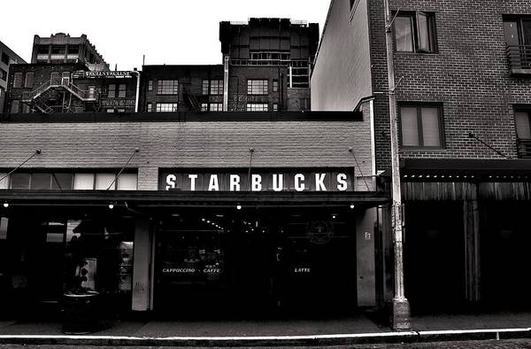 Pikes Place Wall Art - Photograph - Original Starbucks Black And White by Benjamin Yeager