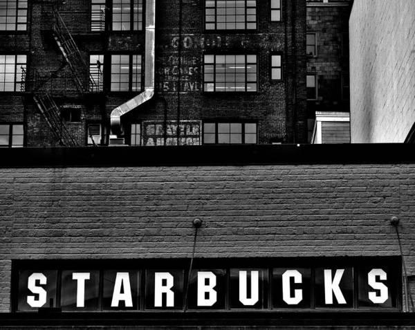 Wall Art - Photograph - Original Starbucks Sign by Benjamin Yeager