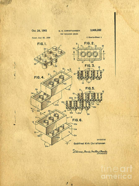 Vintage Patent Wall Art - Digital Art - Original Us Patent For Lego by Edward Fielding