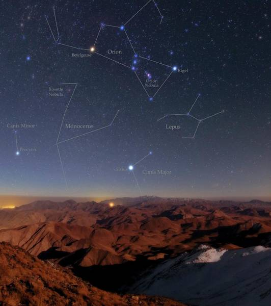 Orion And Sirius Over Iran Art Print by Babak Tafreshi/science Photo Library