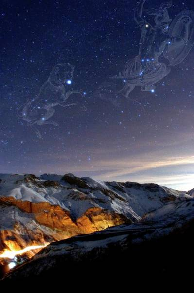 Wall Art - Photograph - Orion And Sirius Over Mountains by Babak Tafreshi/science Photo Library