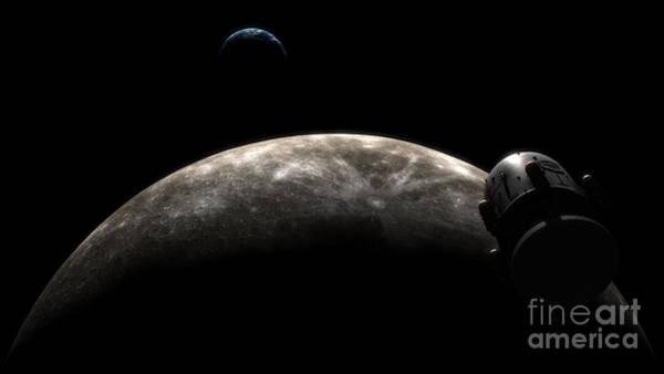 Orion Digital Art - Orion-drive Spacecraft In Lunar Orbit by Rhys Taylor