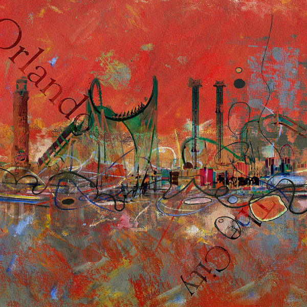 Florida City Painting - Orlando City Collage 2 by Corporate Art Task Force