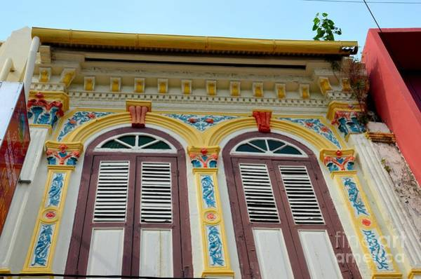 Photograph - Ornate Decorated Shophouse Windows Shutters And Wall In Malacca Malaysia by Imran Ahmed