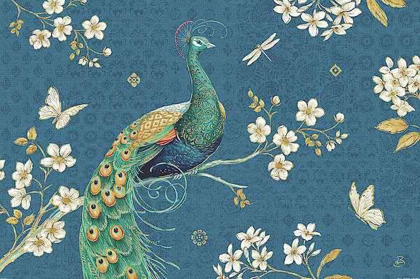 White Peacock Painting - Ornate Peacock IIi by Daphne Brissonnet
