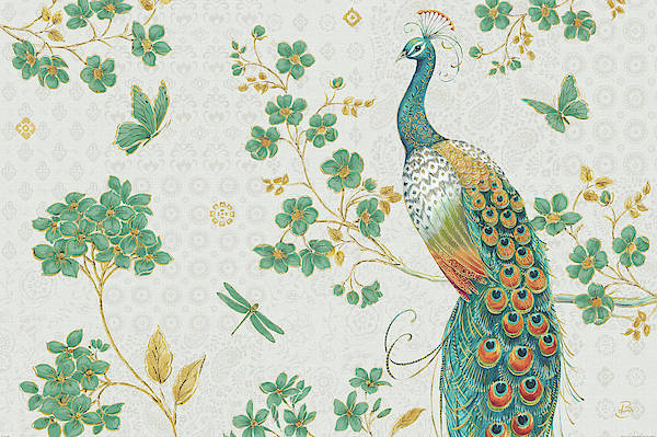 White Peacock Painting - Ornate Peacock Iv by Daphne Brissonnet