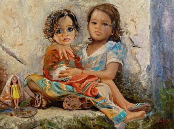 Painting - Orphans by Sefedin Stafa