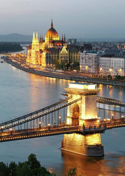 Parliament Building Photograph - Orszaghaz And Chain Bridge At Dusk by Allan Baxter